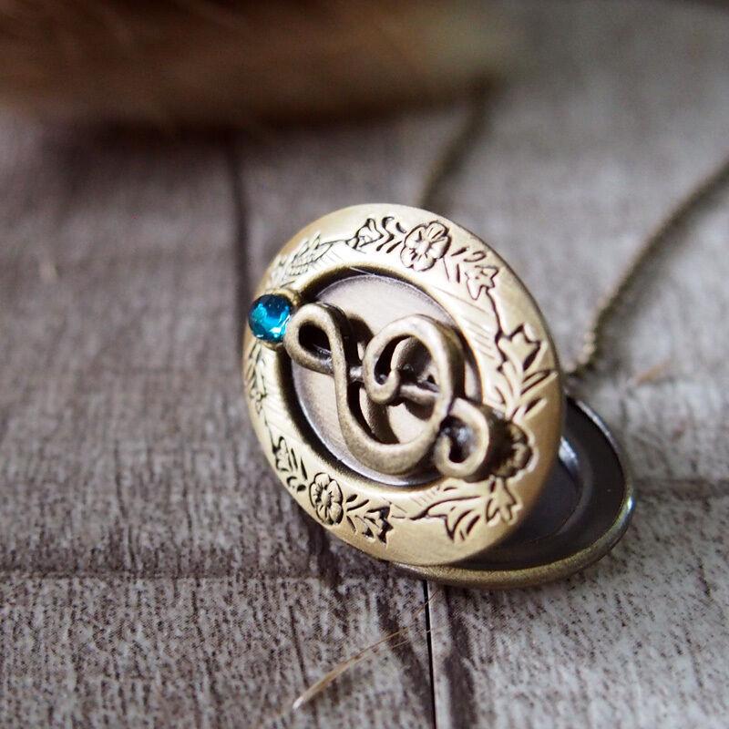 Sapphire Music Note Brass Picture Locket Necklace Handmade Jewerly