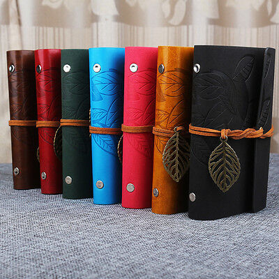 Vintage School Notebook Diary Leather Paper Journal Travel Book Portable Retro