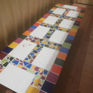 Kids mosaic table. 10 seater.