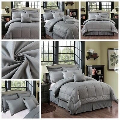 10 Piece Bed In A Bag Plaid Embossed Comforter Sheet Bed Skirt Sham Set -