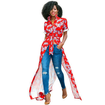 AA CHICAGO Women African Print Shirt Dress Floral Print Turn Down Collar 5931 ()