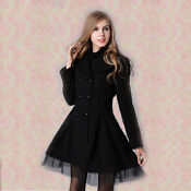 New Womens Wool Double-breasted Trench Coat/jacket
