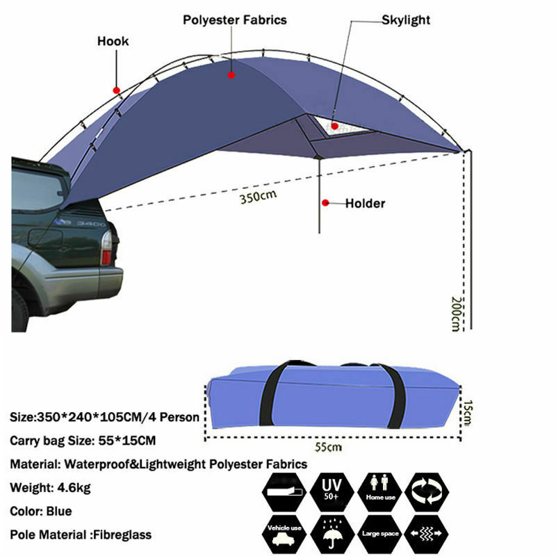 Details about 3.5M X 2.0M Car Side Awning Tent C&er Trailer Roof Rack Top 4WD 4X4 C&ing  sc 1 st  eBay & Details about 3.5M X 2.0M Car Side Awning Tent Camper Trailer Roof Rack Top 4WD 4X4 Camping
