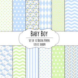 12x12-DIGITAL-Scrapbook-Paper-Set-Blue-Baby-Boy-Chevron-Dots-Stripes