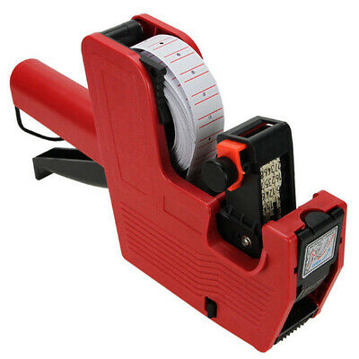 New Price Tag Gun Mx-5500 8 Digits Eos 5000 White Red Lines Labels 1ink