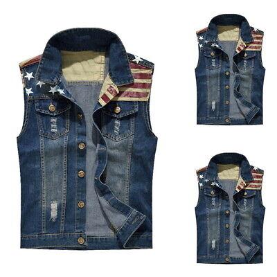 US Fashion Men's Denim Vest Jean Jacket Waistcoat Sleeveless Slim Tops Plus Size