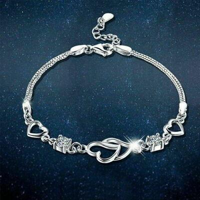 925 Sterling Silver Open Heart Bracelet Charm Jewellery Women Ladies Gift 2020