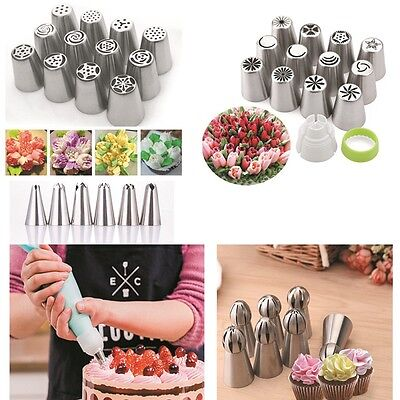 7 12 24Pcs Russian Flower Cake Icing Piping Nozzles Decorating Tips Baking Tool