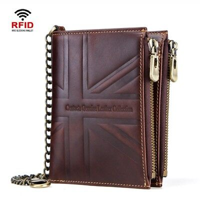 Flag Genuine Leather Chain Wallet - RFID Crazy Horse Genuine Leather Hi-Q Mens Chain Wallet Short Card Union Flag