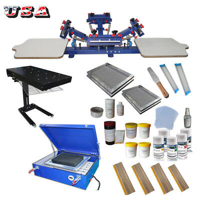 Full Set Screen Printing Machines Kit With All Press Ink Tools 4 Color Printer