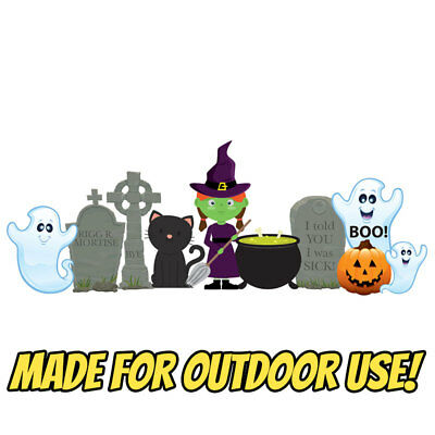 WITCH & GHOSTS Halloween 10-pc Plastic OUTDOOR YARD DECOR Standee Standup Set (Halloween Witch Outdoor Decorations)