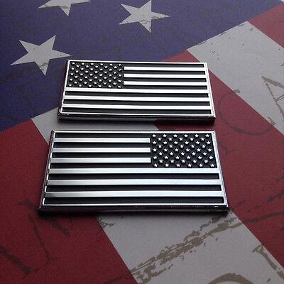 USA Flag x 2 Car Auto Truck Chrome Metal Decal American Sticker 3D Emblem Badge!
