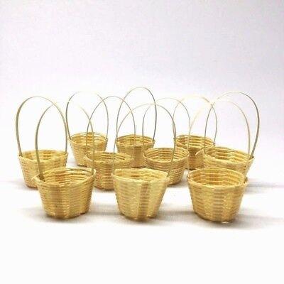10 Miniature Woven Bamboo Basket Vintage 25 mm.Handmade Wood Craft Decorate Gift - Bamboo Basket
