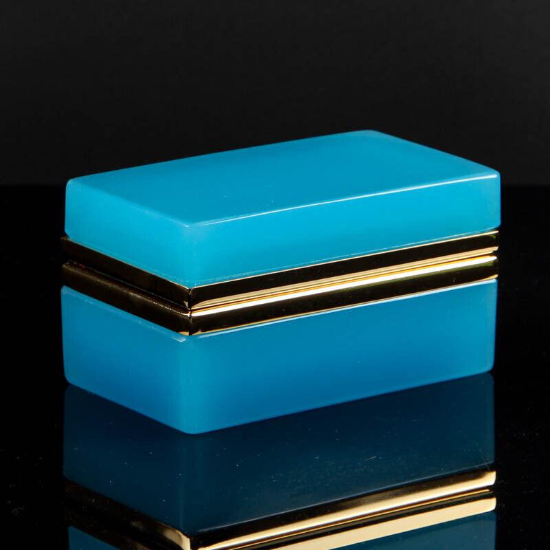 Vintage French opaline box casket golden polished metal rectangular petrol