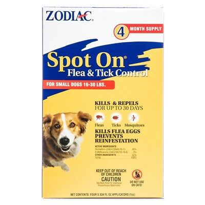 Zodiac Spot On Flea & Tick Control For Small Dogs 16-30lbs 4 month Supply