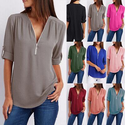 UK Womens Summer Casual Chiffon Tee T Shirt Ladies Long Sleeves Blouse Loose Top
