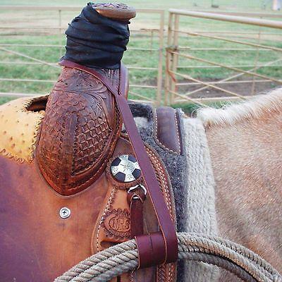 "Lariat rope holder, generic rope strap burgundy  1/2"" x 33"" USA made,western"