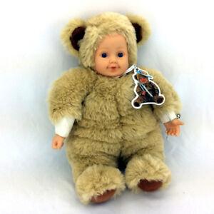 Anne Geddes Doll Plush Baby In Teddy Bear Costume Plastic Head
