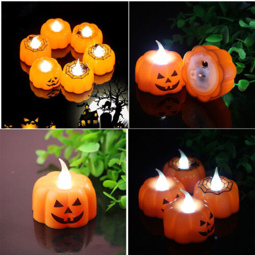 1x Halloween LED Candle Light Skeleton Pumpkin Night Light Party Home Decor