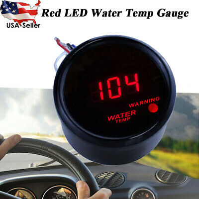 "Car Black 2"" 52mm Red Digital LED Electronic Water Temp Temperature Gauge+Sensor"