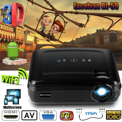4K 1080P Android WIFI Projektor Bluetooth LED 3200Lumen 3D Heimkino Beamer 1+8GB
