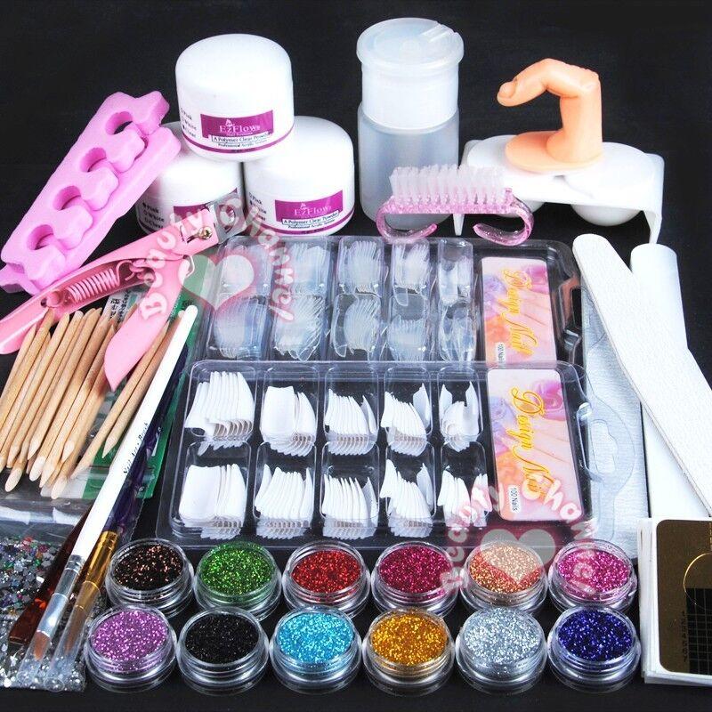 New Acrylic Powder Glitter Nail Brush False Finger Pump Nail Art ...