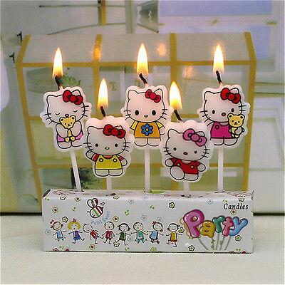 5Pcs Girl Birthday Cake Candles Hello Kitty Cartoon Party Decorations Kids Safe  - Hello Kitty Cake Decor