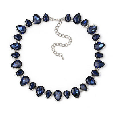 silver plated water drop BLUE GLASS gem wrap Necklace  US SELLER SHIP FROM (Silver Plated Ship)