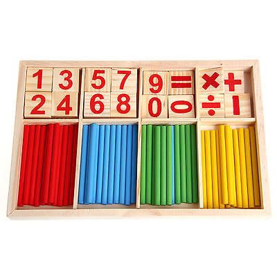 Kids Wooden Numbers Early Learning Counting Educational Toy Math Manipulatives