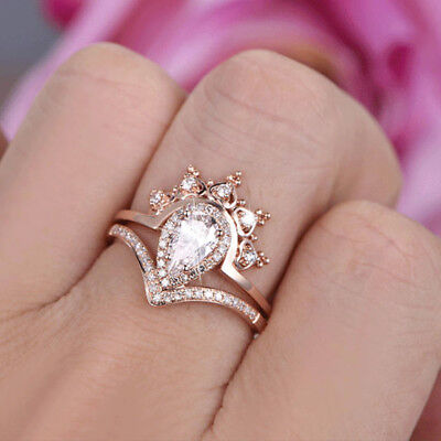 (Queen crown rose gold filled women wedding ring pear cut white sapphire size 6)