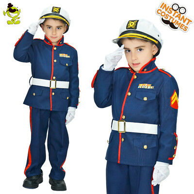 Boys Blue Marine Costume Handsome Sailor Uniform for Children Career Role Play - Marine Costume For Boys