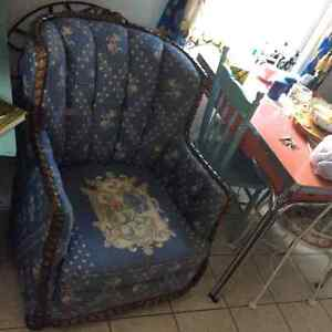 Pair of antique Krug His & Hers arm chairs