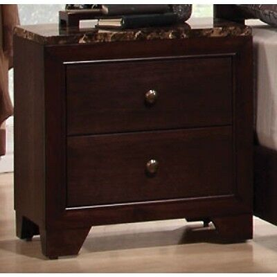 Coaster Conner Faux Marble Top Two Drawer Nightstand Bedside Table Bedroom Home