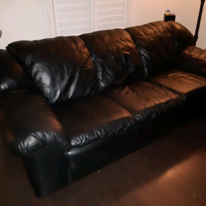 Black leather 3 piece couch set