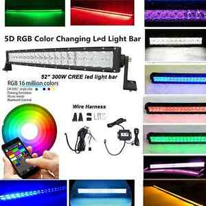 "5D lens 52"" RGB LED Light Bar snowplow towtruck wall washer"
