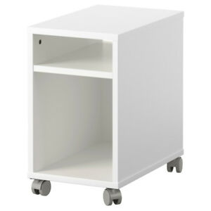 IKEA OLTEDAL (White) Nightstand with Grey Castors--- $45 !!