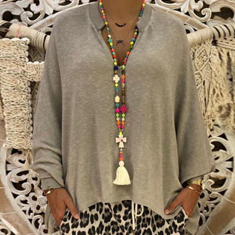 Damen High Low Sommer Langarmshirt Blusen Baggy Hemdbluse Langtop Oberteil S-5XL