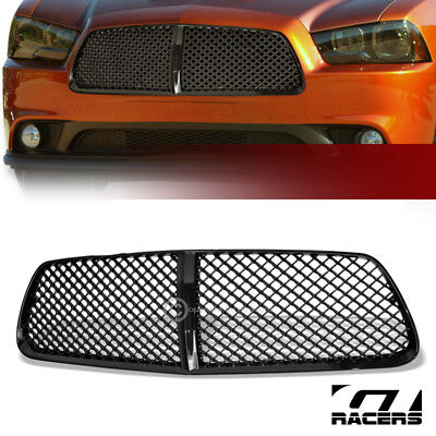 For 2011-2014 Dodge Charger Blk Luxury Badgeless Mesh Front Bumper Grill Grille ()