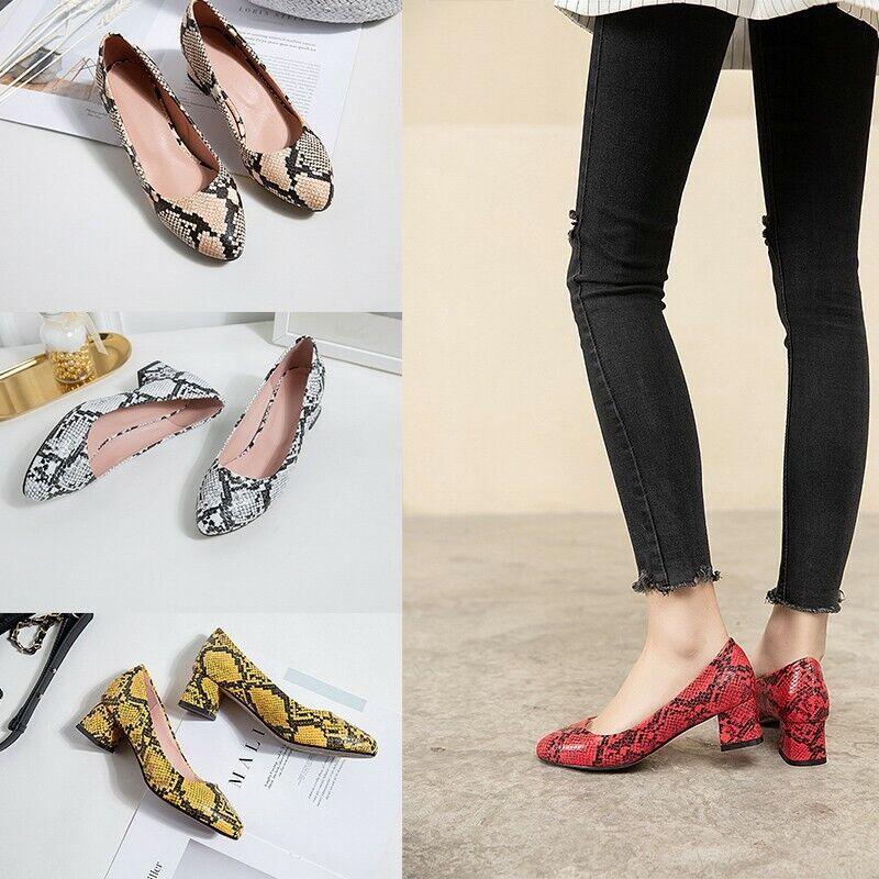 как выглядит 4 Colors Ladies Block Mid Heel Slip On Loafer Snakeskin Pattern Shoes College фото
