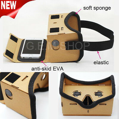 GOOGLE CARDBOARD HEADSET 3D VIRTUAL REALITY VR GOGGLES FOR ANDROID iPHONE iOS UK