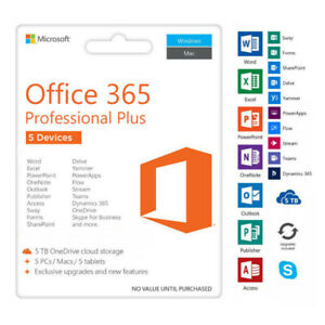 Microsoft Office 365 [CUSTOMIZED] 2019 ONETIME FEE -  5PC/MAC
