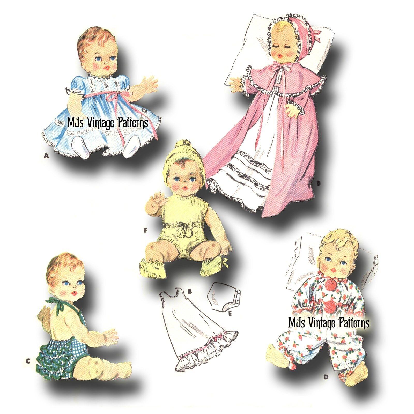 "Vtg 1950s Baby Doll Pattern ~ 15"" 16"" Tiny Tears, Betsy Wetsy, Dy Dee, Kathy"