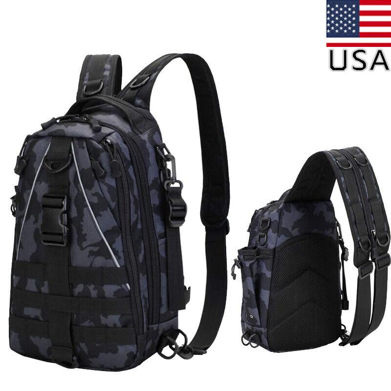 Fishing Tackle Backpack Fishing Bag w/ Rod Holder Shoulder Fishing Bag Outdoor