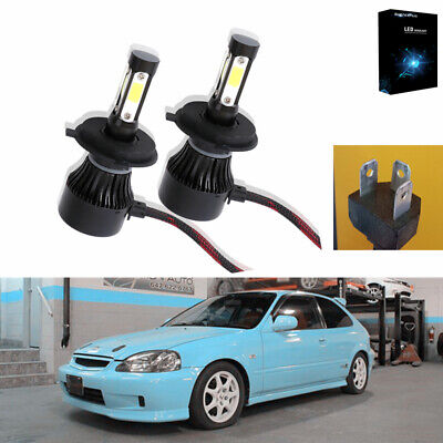 2X 4side H4 LED Headlight Bulbs Kit 6000K For 99-2000 Honda Civic EK9 Hi/Lo Beam
