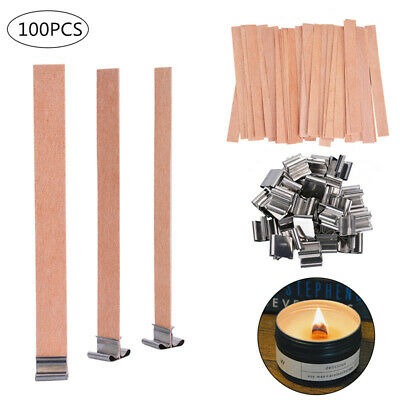 100 PCS Wood Candle Wicks with Iron Stand Candle Cores Candle Making DIY