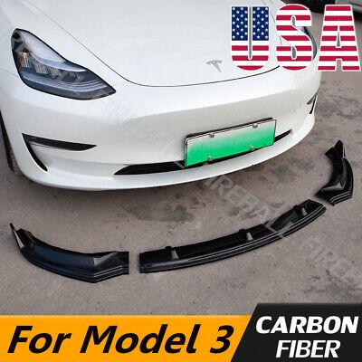 For Tesla Model 3 Sedan 2016-2019 Carbon Fiber Style Front Bumper Lip Spoiler
