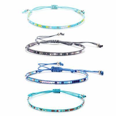 Women Friendship Jewelry Bohemian Seed Beaded Wax Rope Handmade Braided Bracelet](Beaded Friendship Bracelets)