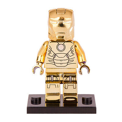 NEW Custom LEGO Marvel Comics Heroes Gold Chrome Plated Iron Man, Gold Iron Man
