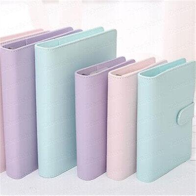 A6 A5 6-ring Binder Pu Planner Binder Notebook Binder- Pink Baby Blue Purple