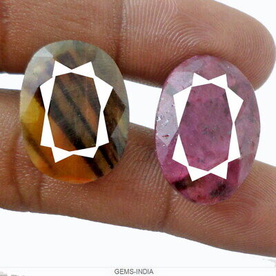61.30 Ct/2 Pc Untreated Ruby Sapphire Oval Cut Gemstones ~ Best for